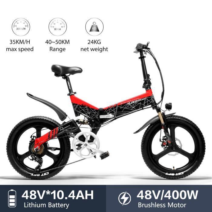 LANKELEISI G650 vélo électrique 20 * 2.4 Gros Pneu vélo Montagne Adulte Pliant vélo électrique de Ville 400w 48v LG Batterie