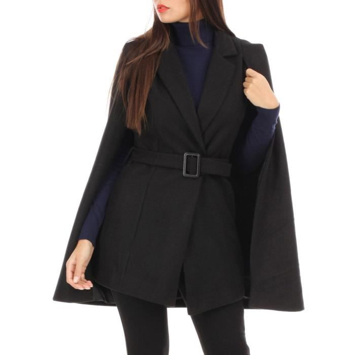 Manteau cape noir court