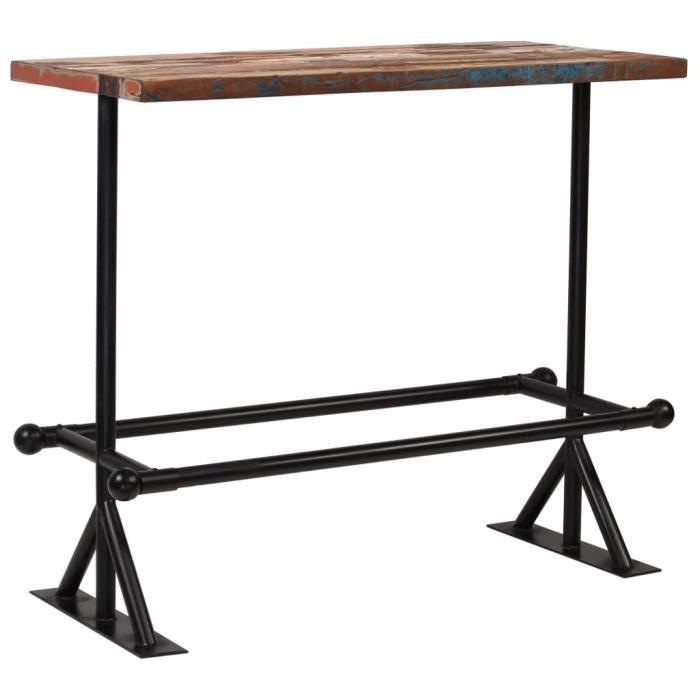 Table de bar Table à manger Table de jardin contemporain Bois massif recyclé Multicolore 120 x 60 x 107 cm