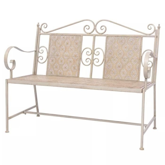Magnifique Economique Haute qualité Luxueux Banc de jardin Acier 115 x 58,5 x 93 cm Blanc