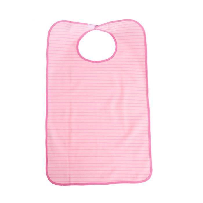 Stripe Lavable en Machine Double Couche Adulte Imperméable Bavoir Repas Vêtements Protecteur (Rose) COFFRET BIBERONS