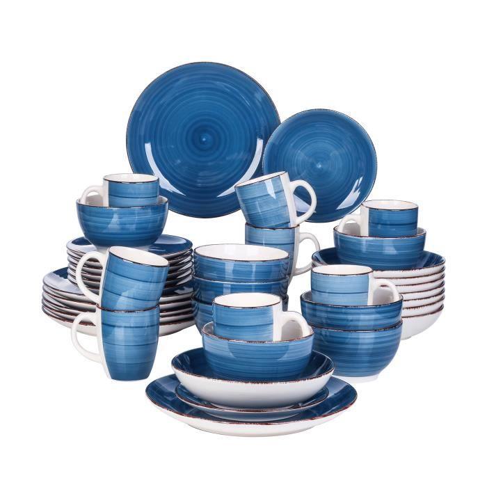 vancasso, Série Bella, Service de Table en Porcelaine,Faïence Style Vintage Rustique,Motif Cercle Arbre-Bleu -40pcs