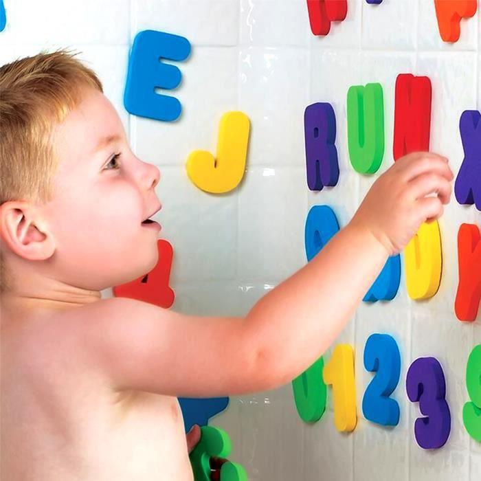 Vococal® 36Pcs Lettres et Chiffres Mousse Autocollants Jouet de bain pour bébé