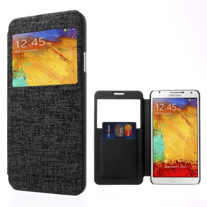 pour samsung galaxy note 3 lite housse etui noir type flip case achat housse chaussette. Black Bedroom Furniture Sets. Home Design Ideas
