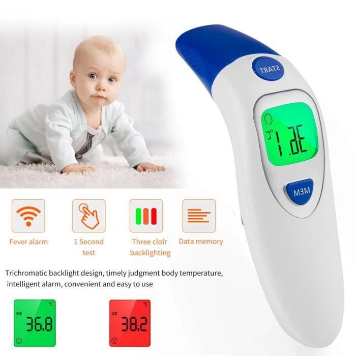 Thermom/ètre num/érique infrarouge pour thermom/ètre frontal et auriculaire pour b/éb/és alarme haute temp/érature(1PCS) enfants et adultes