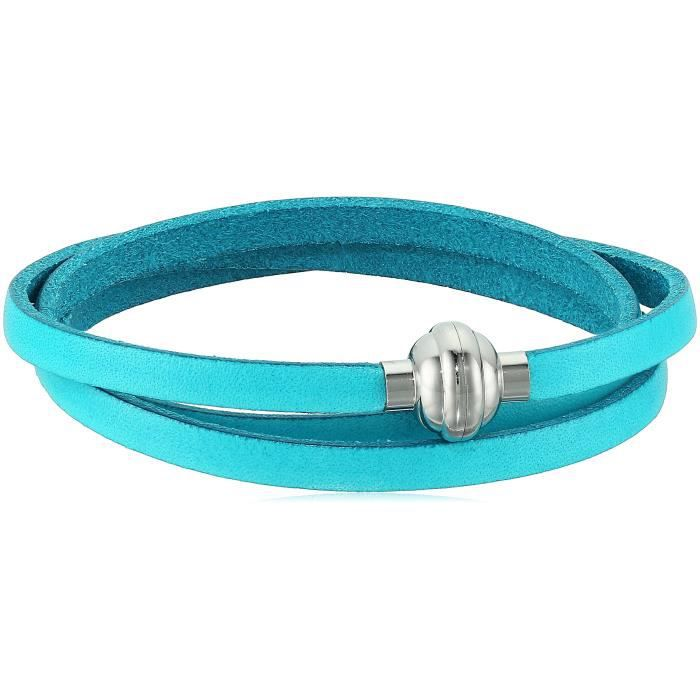 Craze Leather And Stainless Steel Magnetic Clasp Wrap Bracelet, 22.5 X73EH