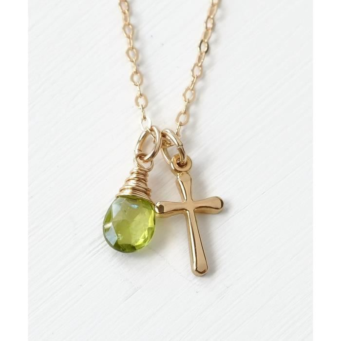 Womens Small Cross Birthstone Necklace For August Birthday - Peridot In Gold Fill 18 Inch FZUDC