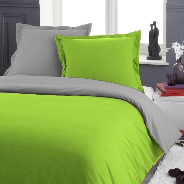 parure de lit une personne 140 x 200 gris vert achat. Black Bedroom Furniture Sets. Home Design Ideas