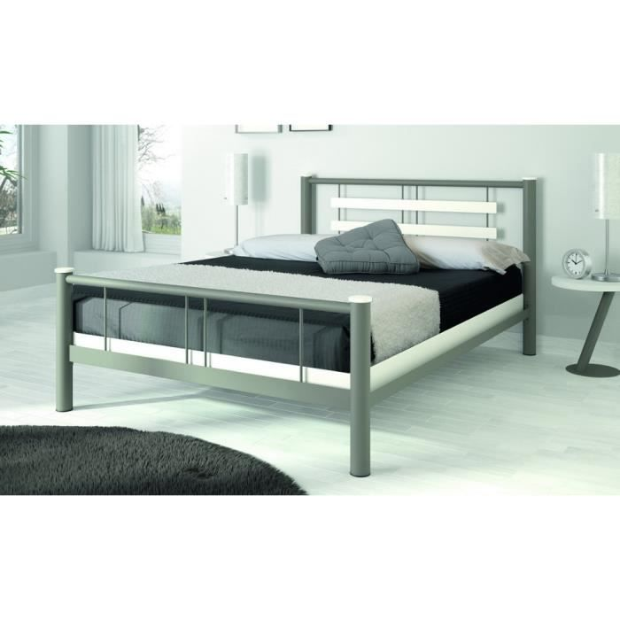 lit adulte m tal 140x190 roxy ferplay gris achat vente structure de lit cdiscount. Black Bedroom Furniture Sets. Home Design Ideas