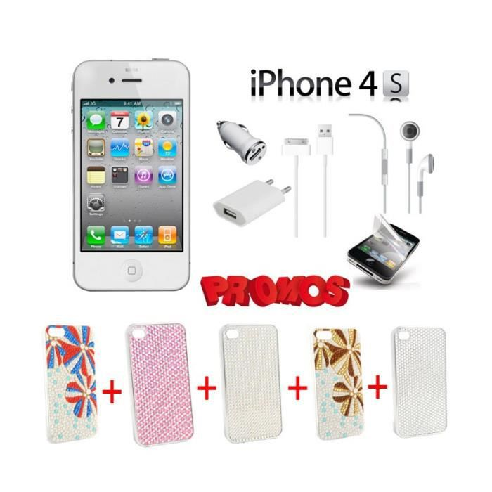 iphone 4s 8go blanc pack 5 coques strass couleurs. Black Bedroom Furniture Sets. Home Design Ideas