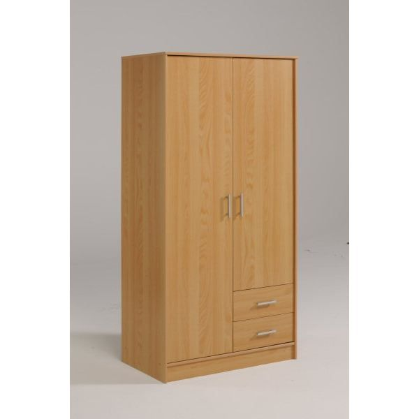 armoire 2 portes 2 tiroirs les meubles olivier achat. Black Bedroom Furniture Sets. Home Design Ideas