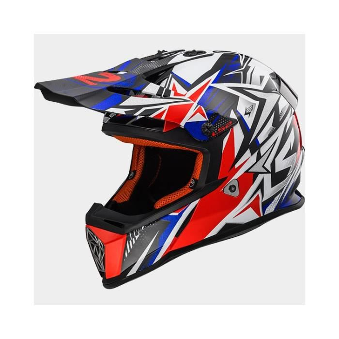 Casque Cross Ls2 Mx437 Fast Strong White Blue Red Achat Vente