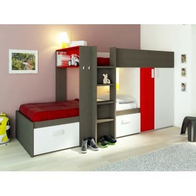 lits superpos s julien 2x90x190cm armoire i achat vente ensemble literie cdiscount. Black Bedroom Furniture Sets. Home Design Ideas