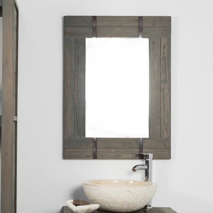 miroir de salle de bain loft bois m tal 60x80 achat. Black Bedroom Furniture Sets. Home Design Ideas