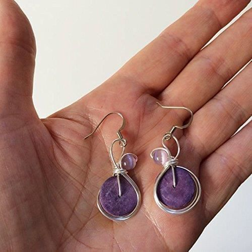 Womens Small Lavender Earrings Wire Wrapped Pastel Jewelry R52RC