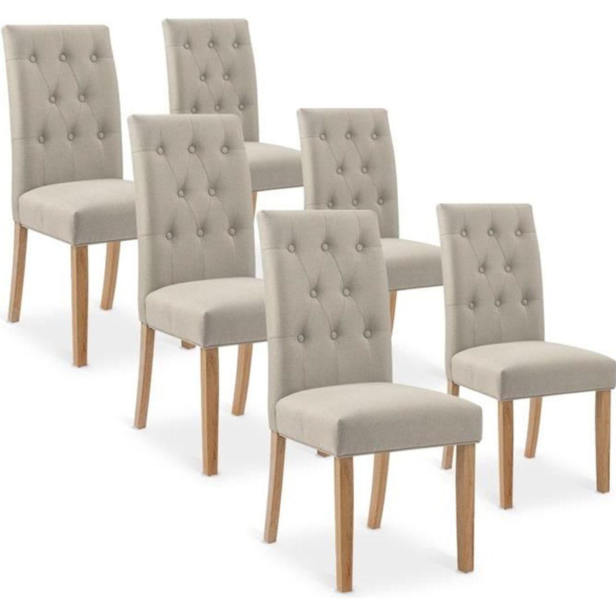 Quel Tissu Pour Chaise lot de 6 chaises gaya capitonnées en tissu beige - achat