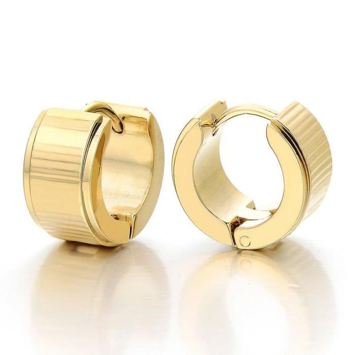 Couleur dor Cercle Perle Non-Piercing Clip-On Anneau Boucle doreille Charni/ère Cr/éoles Homme Femme Acier 1 paire