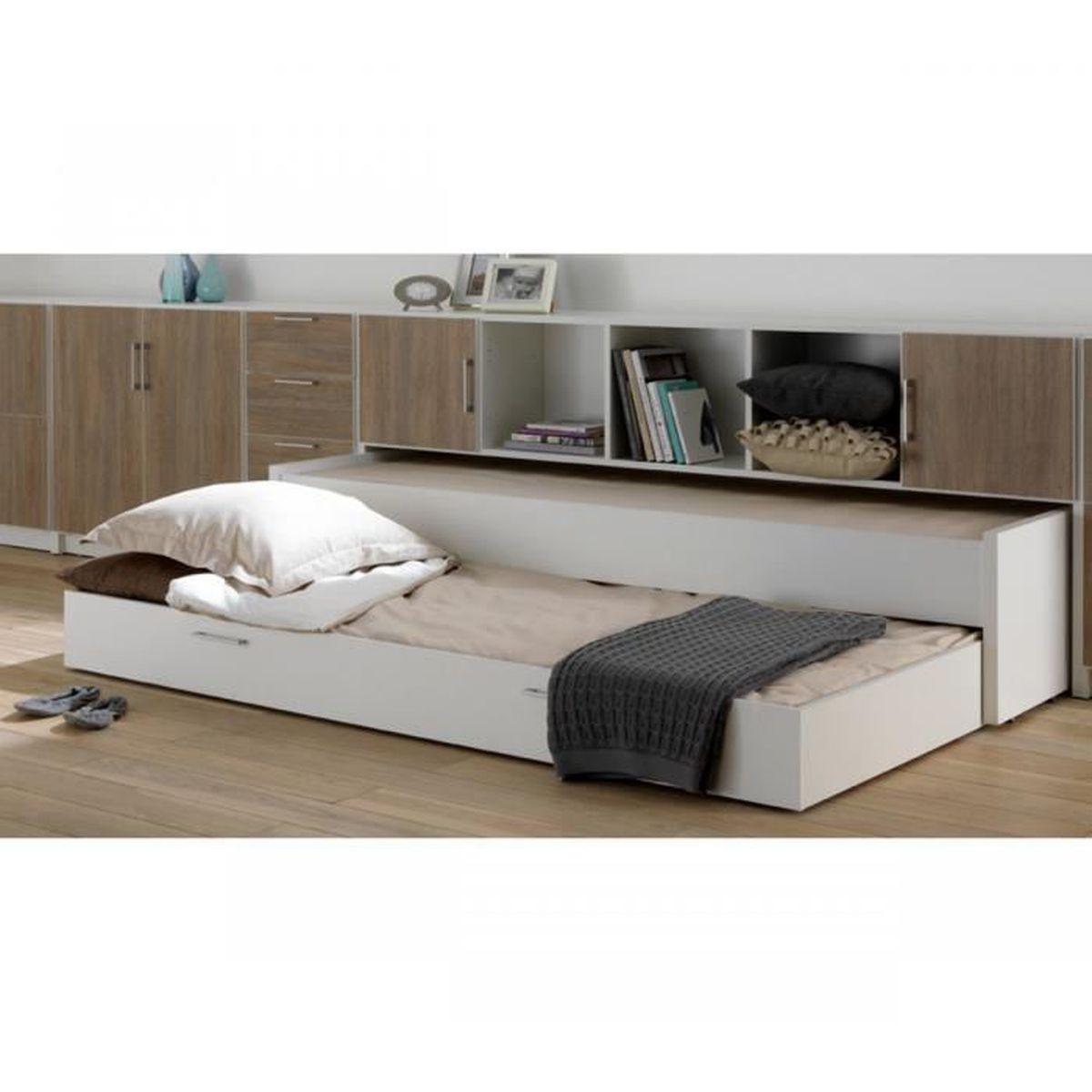 Coffre De Rangement Sous Pente lit sous-combles 90x200 avec environnement de lit - achat