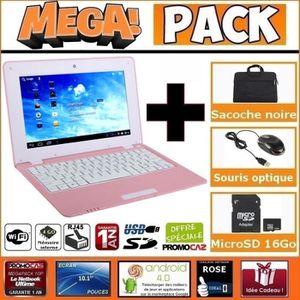 ORDINATEUR ENFANT MEGA Pack- Netbook Rose 10 pouces 4Go Android +Sac
