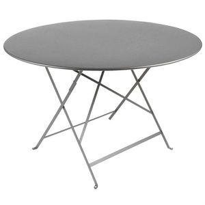 Table de jardin pliante metal Ronde Grise O90cm - Achat ...