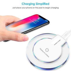 CHARGEUR TÉLÉPHONE Qi Chargeur sans fil Rapide Chargeur Blanc pour iP
