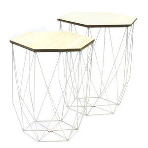 TABLE BASSE JARDIN  Lot de 2 tables gigognes en MDF et métal coloris b