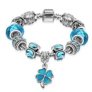 BRACELET - GOURMETTE 20 cm Bracelet Charm Trèfle Cristal Swarovski* Sty