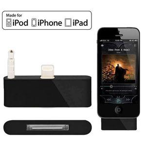 CÂBLE TÉLÉPHONE Adaptateur Noir Pour Iphone 5 & 5c & 5s Audio 30 B