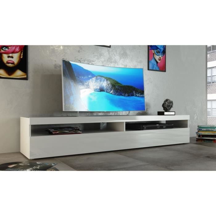 burrata meuble tv 200cm laqu blanc achat vente meuble tv burrata meuble tv 2p blanc bois. Black Bedroom Furniture Sets. Home Design Ideas