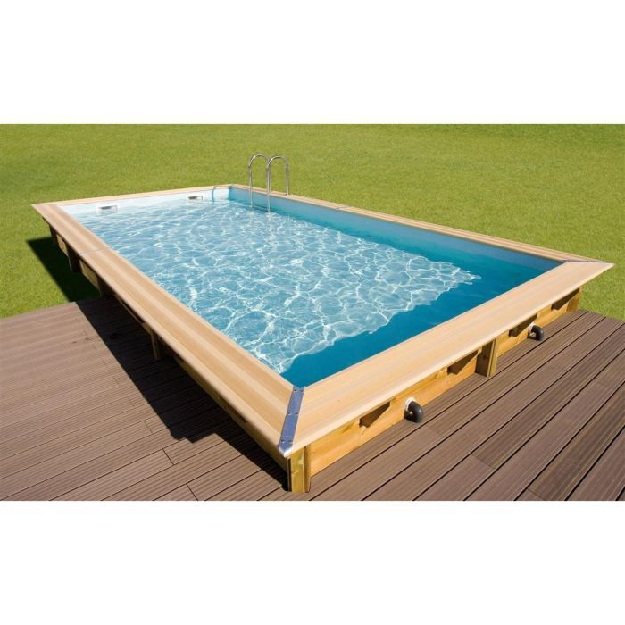 Ubbink piscine bois linea bleue 350x650x140cm achat for Piscine demontable rectangulaire