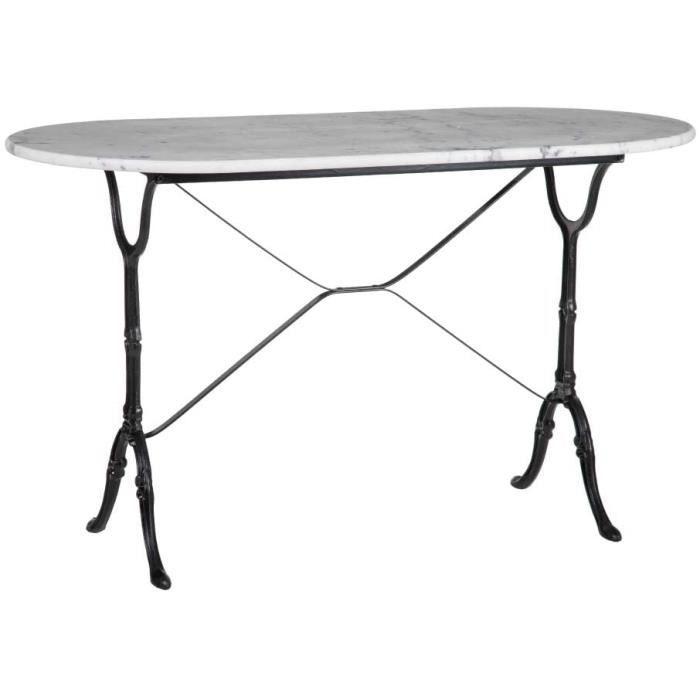 Lolahome Table de Salle à Manger Ovale en marbre et métal Vintage Noir-Blanc 120 x 60 x 71 cm[201]