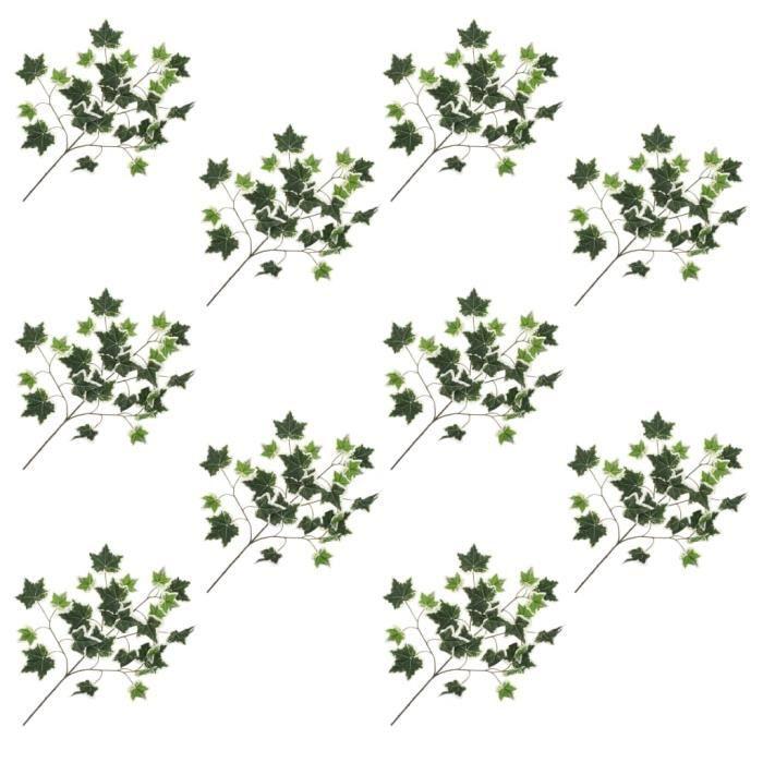 HAO 10 pcs Feuilles artificielles Vert et blanc de lierre 70 cm