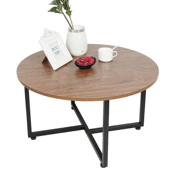 Table basse Rond Design Rétro Industriel Armature en métal