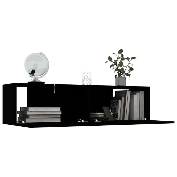 HAO Meuble TV Noir Design Tendance 120x30x30 cm Aggloméré