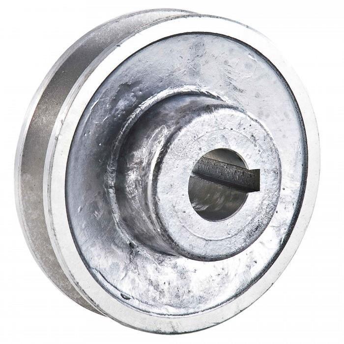 Poulie en aluminium Alesage O 19 mm. Diametre 80 mm. Poulie a gorge avec vis d'arret.