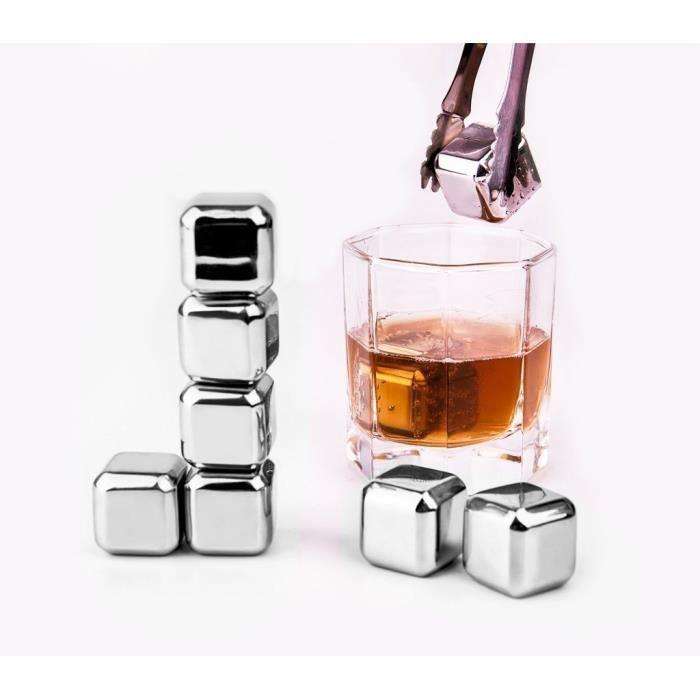 whisky stones - lifestance boîte de rangement en plastique de 8 avec des pinces en acier inoxydable de refroidissement des roches...