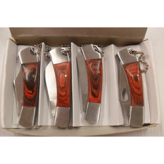 4 Petits Couteaux Pliant de Poche Lame Acier 3,5 cm Manche Bois 5cm Style Canif