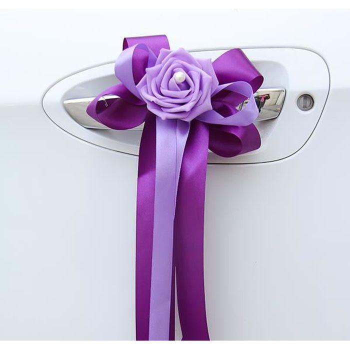 Lot de 6 nœuds ruban satin à double couleur avec fleur décorée d'une perle nacrée - décoration tulle voiture de mariés mariage Parme