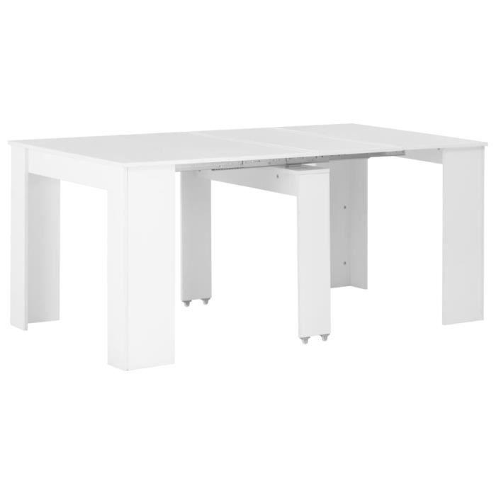 Table à dÎner extensible Blanc brillant 175x90x75 cm