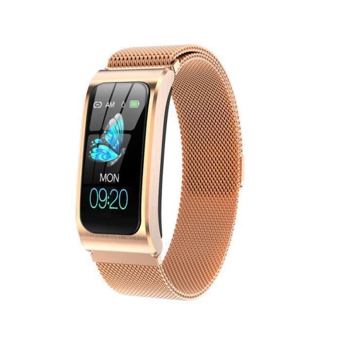 Montre connectée de Femme, Bracelet Or Métal 1,14 Ecran Couleur HD IP67 Montre Etanche Sport Smart Watch AK12