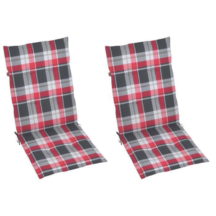 54184-Vintage Galette de chaise - Lot de 2 Coussins de chaise de jardin Luxueux - Coussin D'extérieur Carreaux rouges 120x50x4 cm