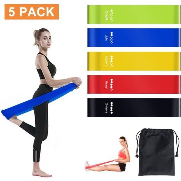 Bande Elastique Fitness (5 pcs), Bande d'exercice pour Fitness Crossfit Pilates Yoga et physiothérapie - Entrainement Corps, Jambes,
