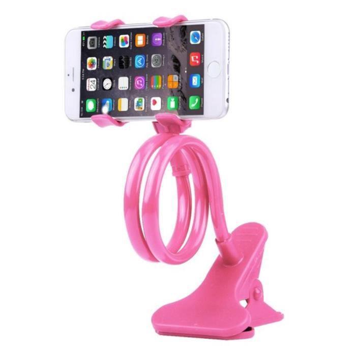 Support de Support de téléphone Flexible à deux pinces pour Support de téléphone portable Porte-téléphones et supports Type Rose #A