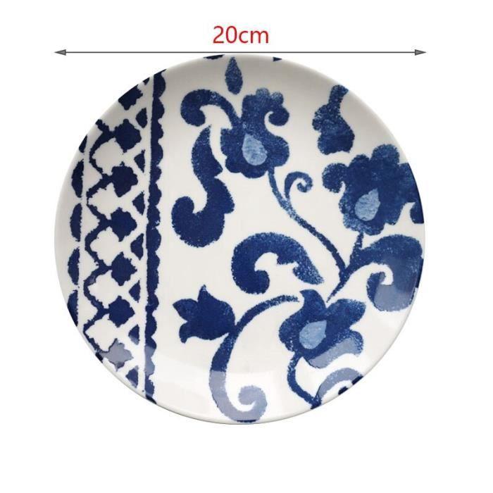 Plats et assiettes,Assiettes à dîner bohème bleu motif géométrique assiette en céramique sous glaçure - Type G2-20cm