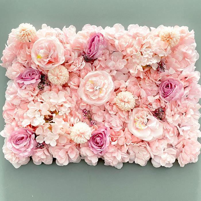 Décoration florale,Panneaux muraux de roses artificielles en soie,fleurs décoratives pour mariage,Baby Shower,fête - Type pink
