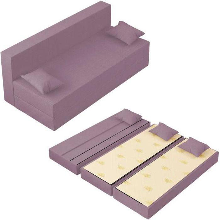 Canapé Lit TreTris Convertible Modulable Réversible 3 places - Tissu dehoussable et lavable Couleur Lilas