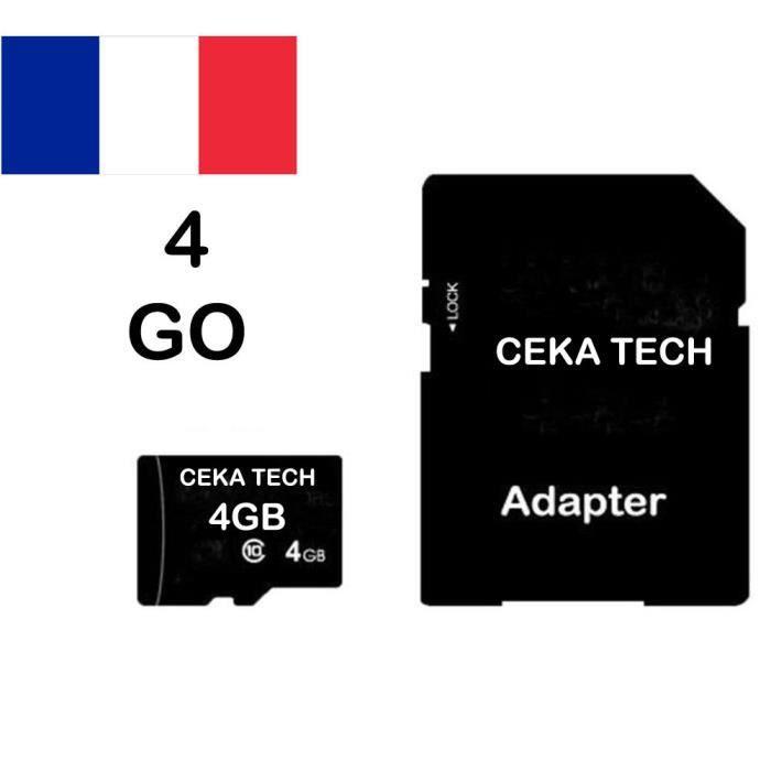 Carte Mémoire Compatible avec Infinix Hot 8 Ceka Tech Micro Sd 4Go Classe 10 avec Adaptateur Sd