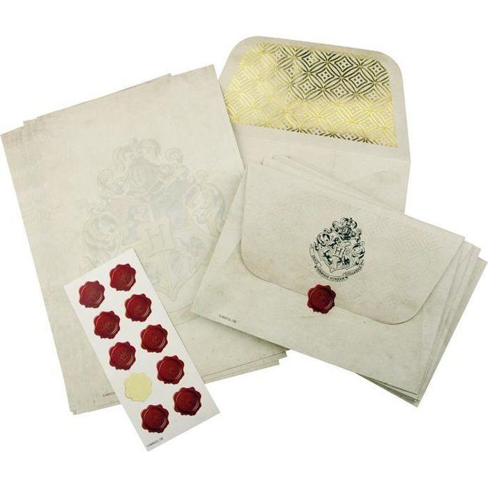 Set pour lettres Harry Potter 3 pièces blanc, papier à lettre, enveloppes et sceaux en cire, emballage cadeau.