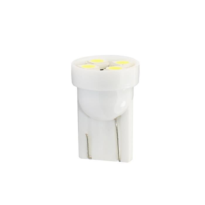 2 ampoules LED T10 W5W 4 leds SMD3528 12V blanc