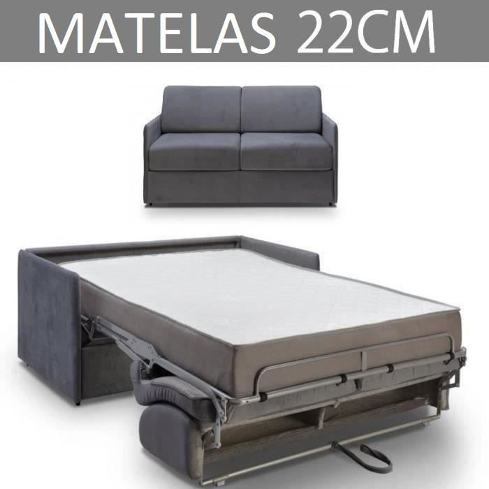 Canapé convertible EXPRESS 2/3 places en velours gris anthracite - Couchage 120cm - Matelas épaisseur 22cm à mémoire de forme - COLO